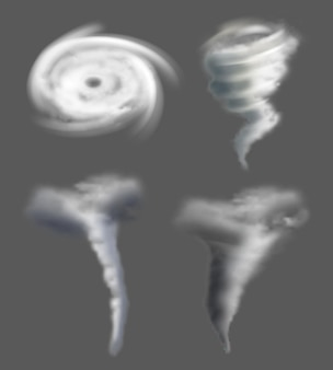 Tornado realistic. nature whirpool twisted weather force air power whirlwind and thunderstorm vector cyclonic pictures. disaster and wind, catastrophe weather funnel hurricane illustration
