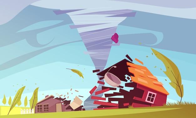 Tornado smashing a house