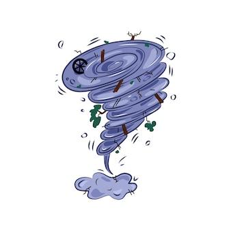 竜巻、嵐、ツイスター、天気、災害、ベクトルイラスト漫画。孤立した背景。