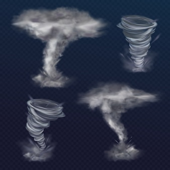 Tornado twister illustration of realistic hurricane wind or cyclone vortex.