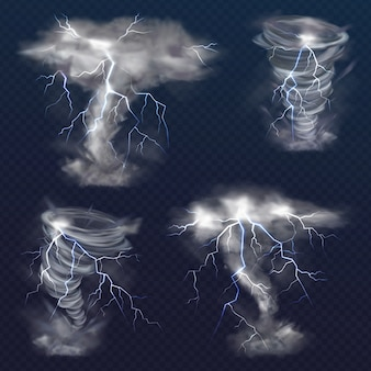 Tornado with lightning illustration of realistic thunderbolt light flash in twister hurricane