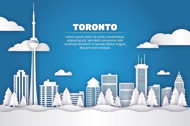 Toronto landmarks skyline in paper style