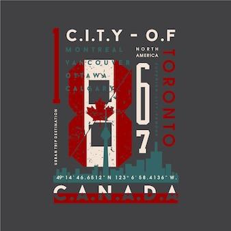 トロント、抽象的なカナダの旗のグラフィックタイポグラフィイラストプリントtシャツ