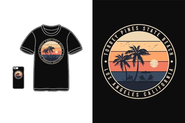 トーリーパインズステートビーチ、tシャツ商品シルエットレトロスタイル