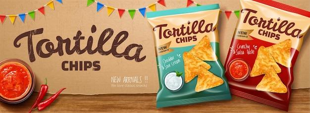 3d 그림에서 크라프트지 배경에 칠리와 살사 소스를 곁들인 토르티야 칩 광고