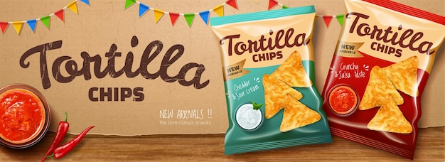 Tortilla chips ads with chili and salsa sauce on kraft paper background in 3d illustration