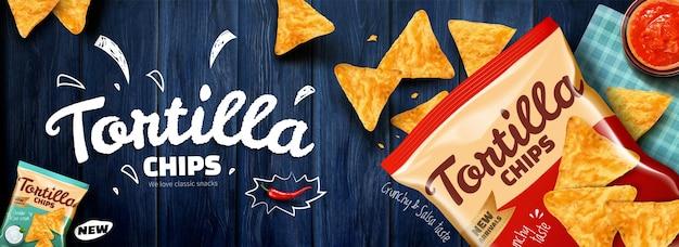 3dイラストの青い木製のテーブルの背景にコーンフレークとトルティーヤチップスの広告