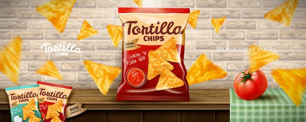 Tortilla chips ads with flying corn flakes and tomato on wooden table background in 3d illustration