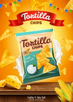 Tortilla chips ads with sour cream and flying corn flakes in 3d illustration