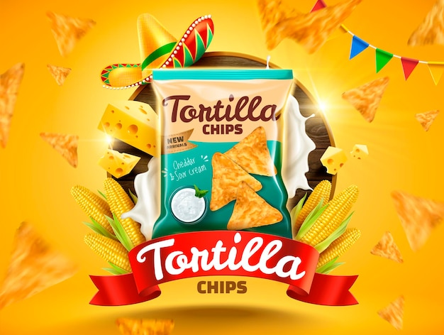 Tortilla chips   with flying cookies and corns