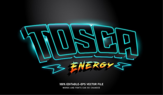 Tosca energy text effect редактируемый шрифт с thunder