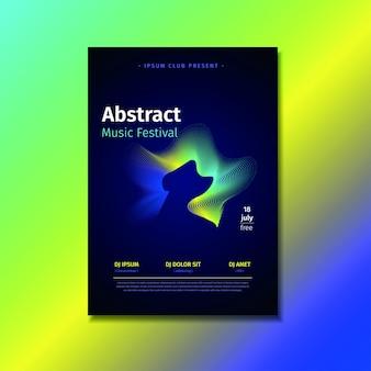 黄色、青、およびtoscaのグラデーション形状を持つ抽象音楽ポスターテンプレート