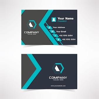 Простой синий tosca визитная карточка дизайн шаблона