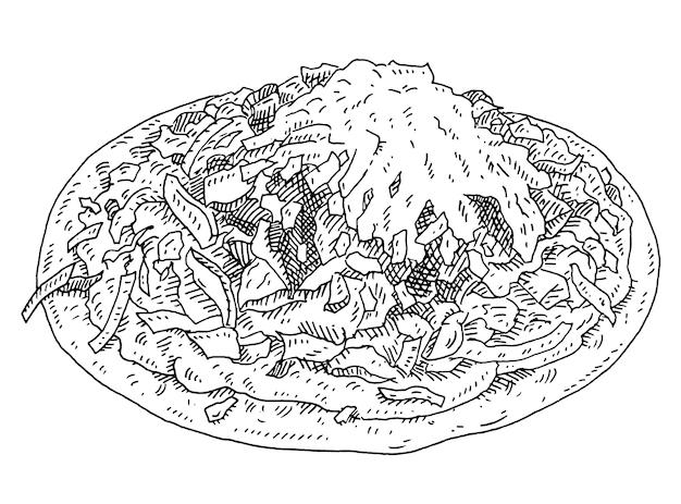 양상추와 샐러드를 곁들인 토스타다. 멕시코 전통 음식. 빈티지 해칭 흑백 그림입니다.
