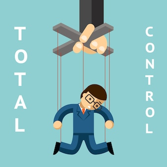 トータルコントロール。ビジネスマンの人形。文字列と権威、操り人形とリーダーシップ、マネージャーの人々、人形と労働者