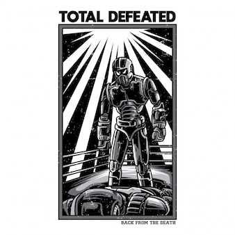 Total defeated black and white illustration