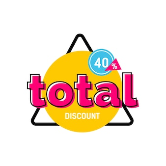 Total discount lettering on yellow circle