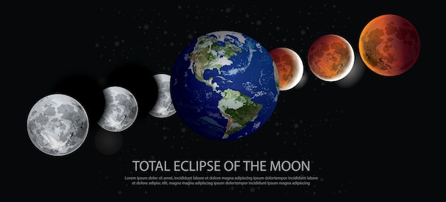 Total eclipse of the moon illustration
