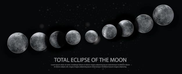 月のイラストの皆既日食