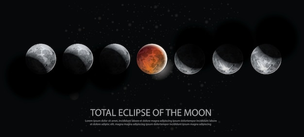 Полное затмение луны векторная иллюстрация
