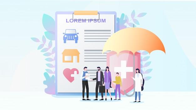 Всего имущества и медицинского страхования flat vector