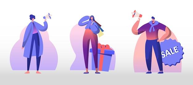 총 판매 세트. 젊은 남자와여자가 쇼핑 고객을 초대하는 확성기에 소리 질러. 만화 평면 그림