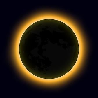 Полное солнечное затмение, солнечное затмение. векторная иллюстрация