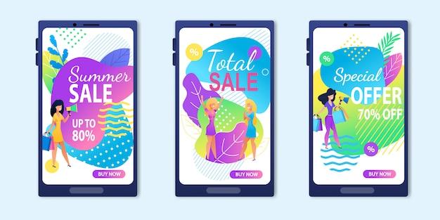 Total summer sale special offer banner set