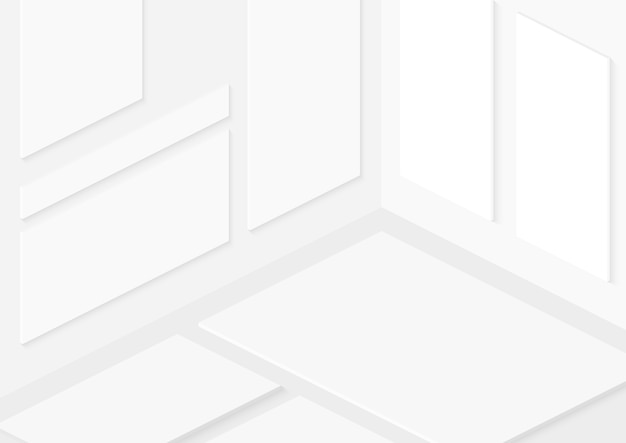 Totally soft isometric white vector isometric empty frames on walls.