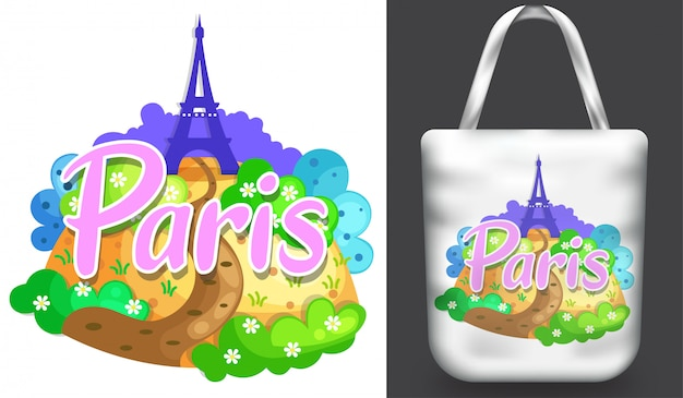 Tote bag mockup with eiffel tower paris illustration