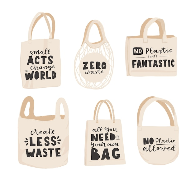 Сумка-тоут с рисованной надписью. пластиковые пакеты free future и продуктовые для покупок, хранения. плоская векторная иллюстрация стиля для эко-магазина, магазина органических продуктов, баннера местного рынка, веганского сайта