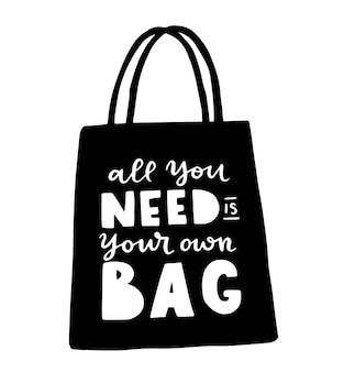 Tote bag with hand drawn lettering. plastic free future and set of produce bags for shopping, storage. flat style vector illustration for eco store, organic food shop, local market banner, vegan site