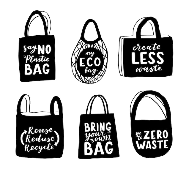Tote bag with hand drawn lettering.