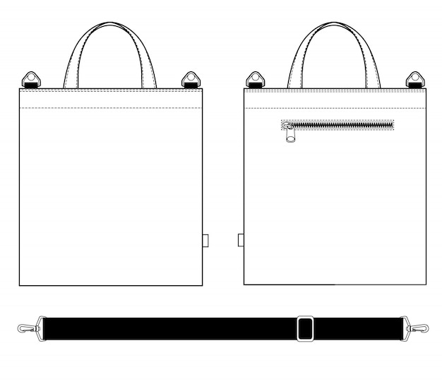 Tote cross bag fashion flat technical drawing template