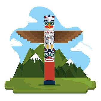 トーテム文化のカナダの風景ベクトルイラストデザイン
