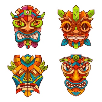 Totem masks with tribal decoration ornament of tiki indians, hawaii or aztec and maya