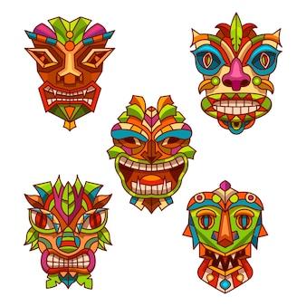 Totem pole masks, tribal culture, native aboriginal and religious ethnic idols, cartoon design.