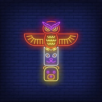 Totem pole with animals neon sign