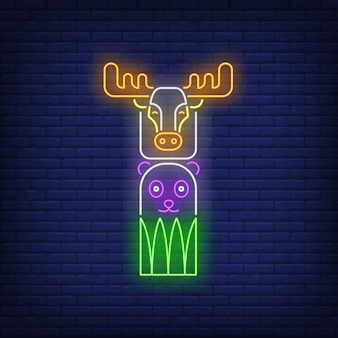 Totem pole with elk and bear neon sign