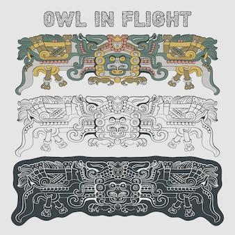 Totemic owl in flight mayan illustration
