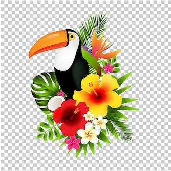 큰 부리 새와 꽃