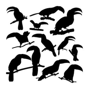 Силуэты животных птица тукан