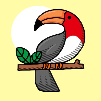 Toucan bird cartoon character.