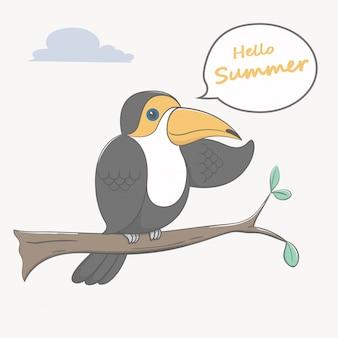 Toucan bird hello summer cartoon
