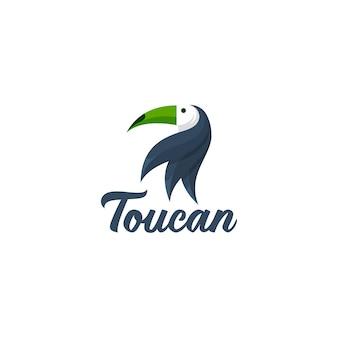 オオハシの鳥のマスコットのロゴ。動物の頭のロゴタイプ