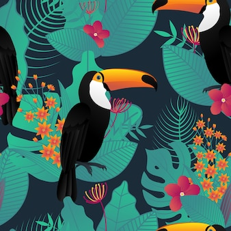 Toucan bird seamless pattern