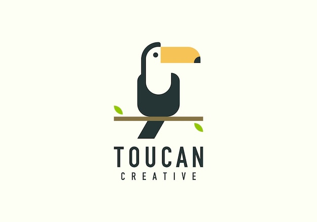Toucan bird shape flat logo