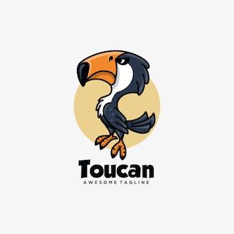 Тукан мультфильм дизайн логотипа вектор плоский цвет