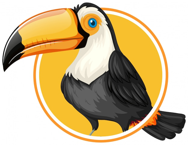 Toucan on circle sticker template