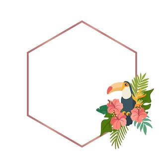 Toucan and colorful tropical flowers in a golden rhombus frame illustration on white background